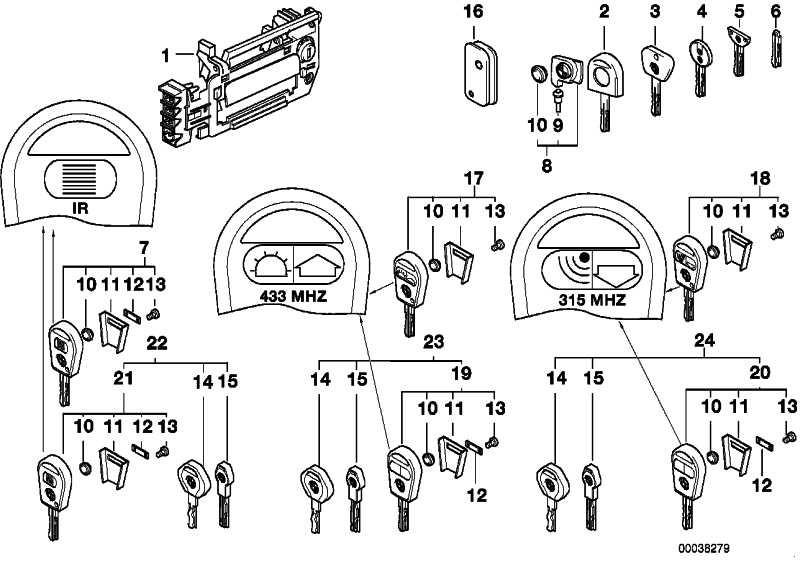 Generalschlüssel mit Fernbet. (Code) 315 MHZ         8er  (51218366369)