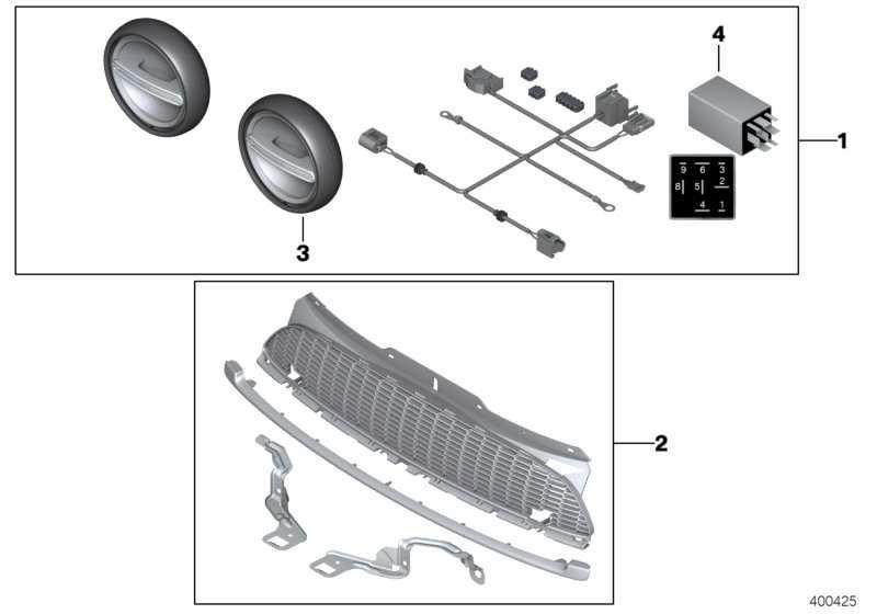 Nachrüstsatz Zusatzscheinwerfer LED CHROM / CHROME MINI  (63122287147)