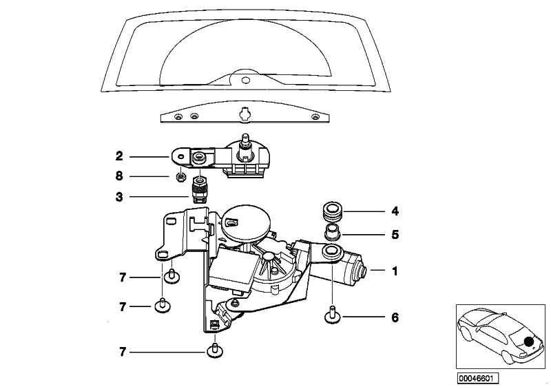 Wischermotor Heckscheibe  3er  (61627010295)