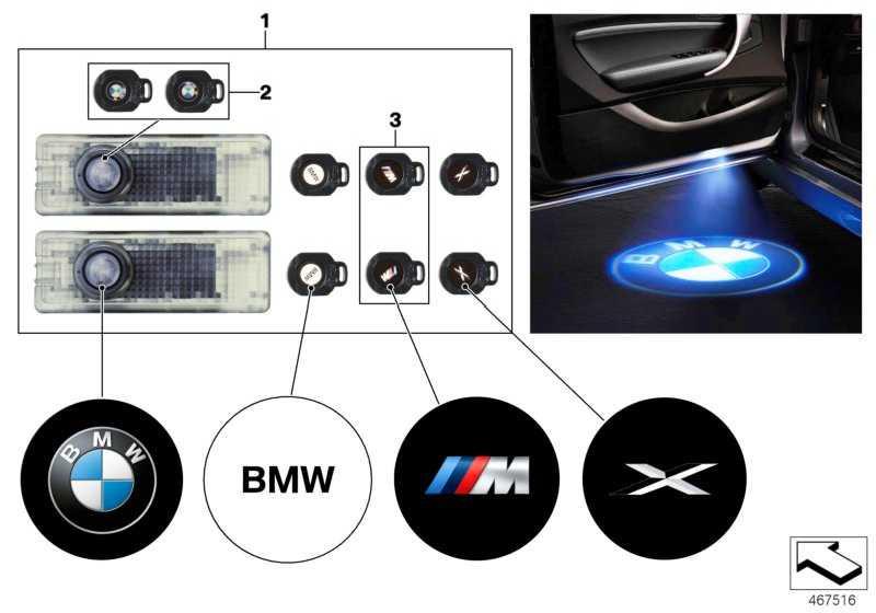 Türprojektor-Dias links+rechts BMW-Logo  5er 6er 7er X3 Z4 3er 1er X5 X6 4er 2er X4 X1  (63312413538)