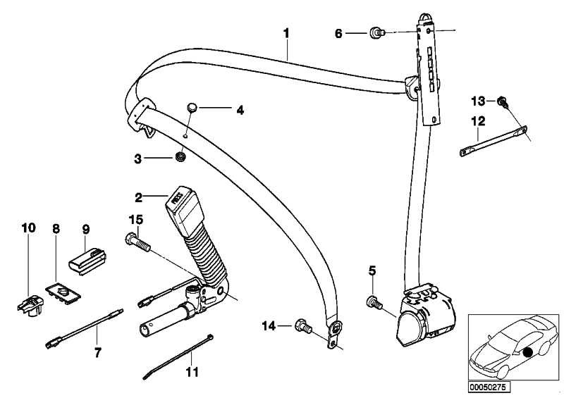 Kabel Gurtstrammer/Sitzstecker  3er 6er X3 X5 Z4  (52108255704)
