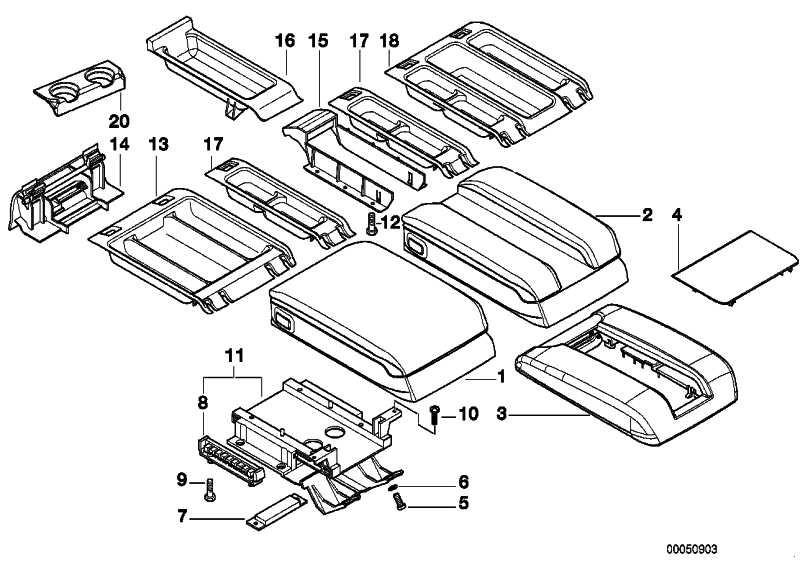 Ablageschale Mittelarmlehne  5er 7er X5  (51168215943)