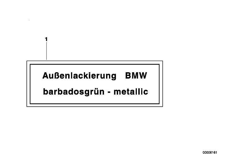 Hinweisschild MALACHITGRUEN-M 3er 5er 6er 7er  (51142121748)