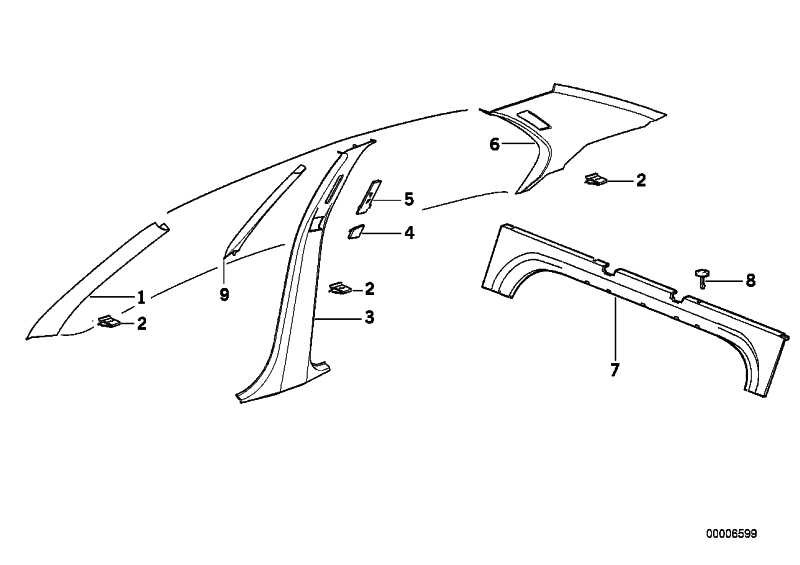 Verkleidung Säule hinten links ANTHRAZIT       3er  (51432252183)