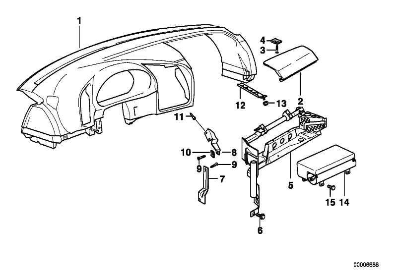 Deckel Instrumententafel SCHWARZ         3er  (51458160165)