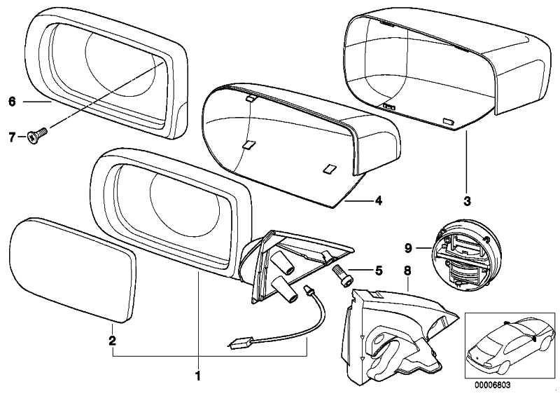 Abdeckkappe lackiert rechts CODE - UNI/MET. 5er 7er  (51169067425)