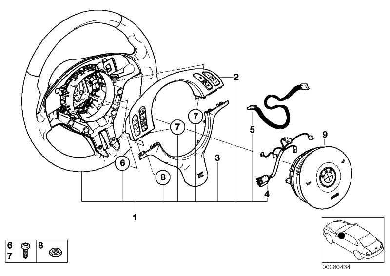 M Sportlenkrad Airb. Leder Multifunktion SCHWARZ/SCHWARZ 3er 5er  (32342282020)