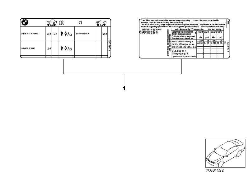 Hinweisschild Reifendruck  Z3  (71212122647)