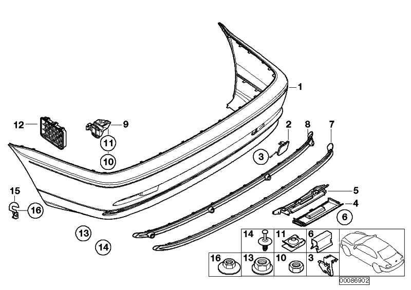 Verkleidung Stossfänger grundiert hinten  3er  (51128222609)