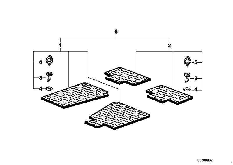 Satz Gummimatten Standard vorn GRAU            3er  (82119413155)
