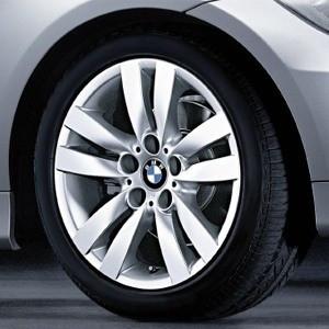 BMW Kompletträder Doppelspeiche 161 silber 17 Zoll 3er E90 E91 E92 E93 (Mischbereifung)