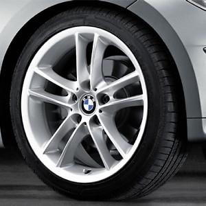 BMW Alufelge Doppelspeiche 182 8,5J x 18 ET 52 Silber Hinterachse BMW 1er E81 E82 E87 E88