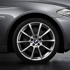 BMW Winterkompletträder V-Speiche 281 silber 18 Zoll 5er F10 F11 6er F06 F12 F13 RDC LC