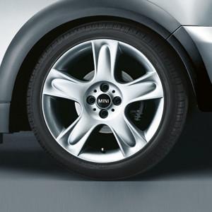 MINI Alufelge 5 Star Bullet 91 7J x 17 ET 48 Silber Vorderachse / Hinterachse MINI R50 MINI Cabrio R52 MINI R53