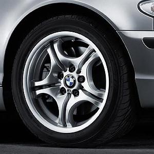 BMW Alufelge M Doppelspeiche 68 silber 7,5J x 17 ET 47 Vorderachse BMW 3er M E46