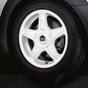 MINI Alufelge 5 Star Blaster 103 6,5J x 16 ET 48 Weiß Vorderachse / Hinterachse MINI R50 MINI Cabrio R52 R57 MINI R53 R56 MINI Clubman R55