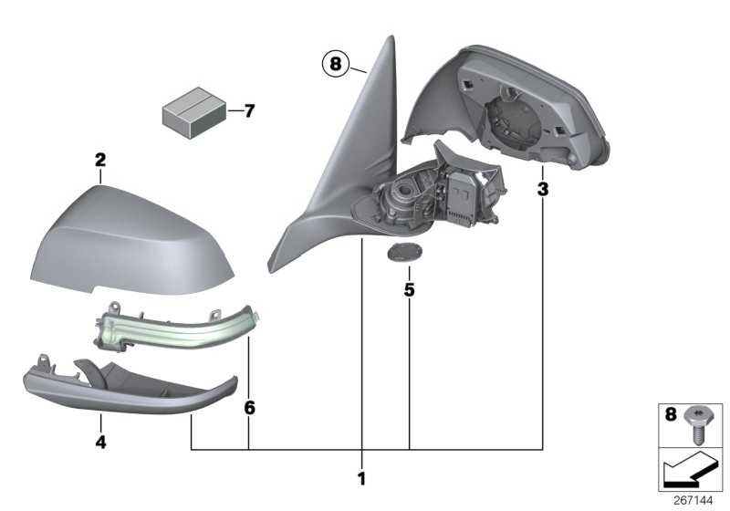 Abdeckkappe Aussenspiegel lackiert li. CODE - UNI/MET. 1er 3er X1  (51162222543)