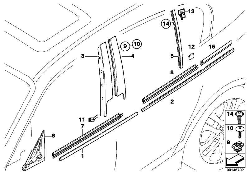 Blende B-Säule Tür hinten links HOCHGLANZ       1er  (51357154311)