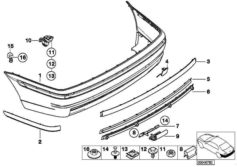 Stossleiste Stossfänger hinten rechts  3er  (51128195316)