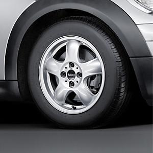 MINI Alufelge 5 Star Spooler 100 5,5J x 15 ET 45 Silber Vorderachse / Hinterachse MINI R50 MINI Cabrio R52 R57 MINI R53 R56 MINI Clubman R55