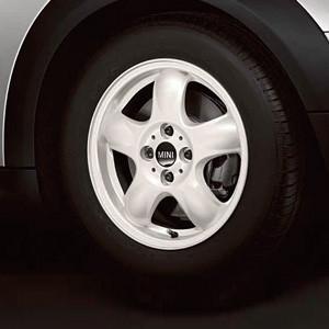 MINI Alufelge 5 Star Spooler 100 5,5J x 15 ET 45 Weiß Vorderachse / Hinterachse MINI R50 MINI Cabrio R52 R57 MINI R53 R56 MINI Clubman R55