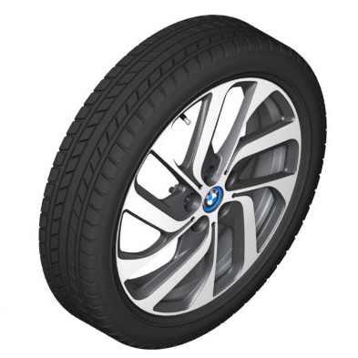 BMW Alufelge Turbinenstyling 428 bicolor (schwarz / glanzgedreht) 5,5J x 19 ET 53 Hinterachse rechte Fahrzeugseite i3