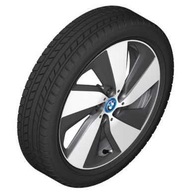 BMW Alufelge Turbinenstyling 429 bicolor (schwarz / glanzgedreht) 5,5J x 19 ET 53 Hinterachse rechte Fahrzeugseite i3