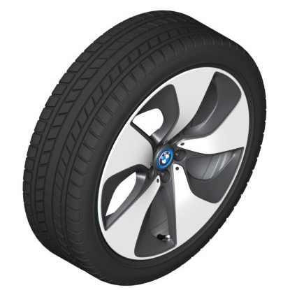 BMW Alufelge Turbinenstyling 444 bicolor (schwarz / glanzgedreht) 7J x 20 ET 36 Vorderachse linke Fahrzeugseite i8
