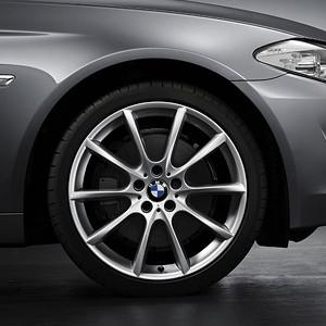 BMW Kompletträder V-Speiche 281 silber 18 Zoll Mischbereifung 5er F10 6er F06 F12 F13 RDC LC