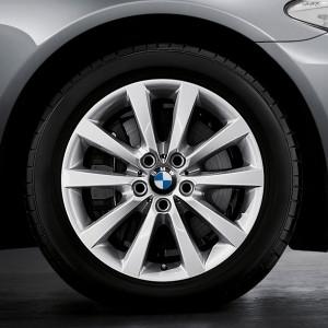 BMW Alufelge V-Speiche 328 8J x 18 ET 30 Silber Vorderachse / Hinterachse BMW 5er F10 F11 6er F06 F12 F13