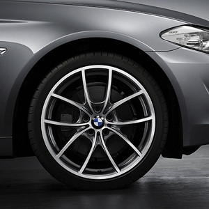BMW Kompletträder V-Speiche 356 bicolor (ferricgrey / glanzgedreht) 20 Zoll 5er F10 F11 6er F06 F12 F13 RDC LC