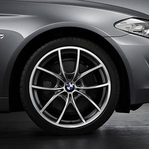 BMW Kompletträder V-Speiche 356 bicolor (ferricgrey / glanzgedreht) 20 Zoll 5er F10 F11 6er F06 F12 F13