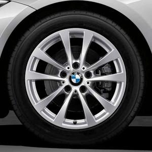 BMW Alufelge V-Speiche 395 7,5J x 17 ET 37 Silber Vorder- und Hinterachse für 3er F30 F31 4er F32 F33 F36