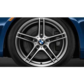 BMW Winterkompletträder M Doppelspeiche 313 bicolor (ferricgrey / glanzgedreht) ohne Performance-Schriftzug, ohne M-Logo 18 Zoll 3er E90 E91 E92 E93 mit Mischbereifung
