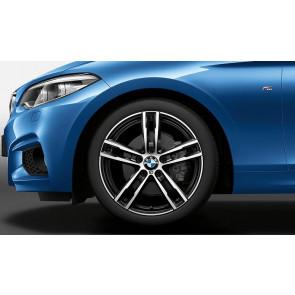 BMW Alufelge M Doppelspeiche 719 bicolor (jet black uni / glanzgedreht) 8J x 18 ET 52 Hinterachse 1er F20 F21 2er F22 F23