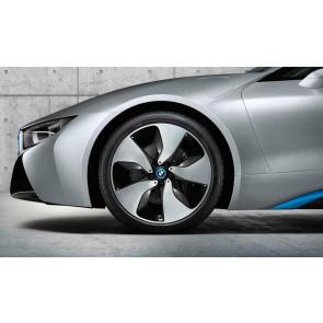BMW Winterkompletträder Turbinenstyling 444 bicolor (schwarz / glanzgedreht poliert) 20 Zoll i8 RDCi