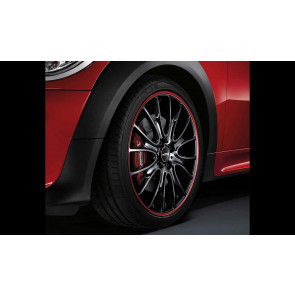 MINI Kompletträder JCW Cross Spoke R113 bicolor (schwarz mit rotem Felgenring) 18 Zoll MINI R57 R58 R59 RDC LC