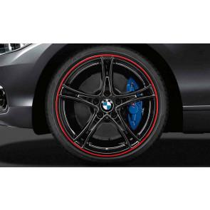 BMW Kompletträder Doppelspeiche 361 bicolor (jet black hochglanz mit rotem Felgenring) 20 Zoll 3er F30 F31 4er F32 F33 F36 RDCi (Mischbereifung)