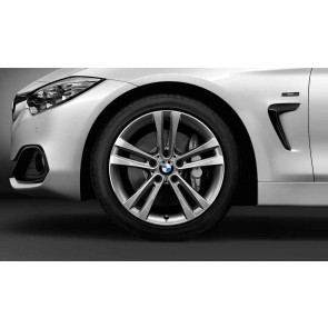 BMW Winterkompletträder Doppelspeiche 397 bicolor (ferricgrey / glanzgedreht) 18 Zoll 3er F30 F31 4er F32 F33 F36