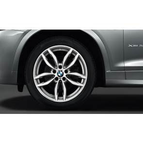 BMW Winterkompletträder M Doppelspeiche 622 bicolor (ferricgrey / glanzgedreht) 19 Zoll X3 F25 X4 F26 RDC LC