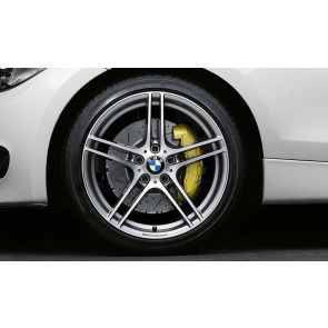 BMW Alufelge M Doppelspeiche 313 bicolor (ferricgrey / glanzgedreht) mit Performance-Schriftzug, ohne M-Logo 8,5J x 18 ET 52 Hinterachse 1er E81 E82 E87 E88
