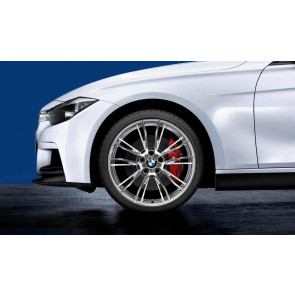 BMW Alufelge M Doppelspeiche 624 silber poliert 8,5J x 20 ET 47 Hinterachse 3er F30 F31 4er F32 F33 F36