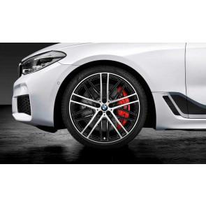 BMW Kompletträder M Doppelspeiche 650 bicolor (jet black uni / glanzgedreht) 21 Zoll 6er G32 7er G11 G12 (Mischbereifung)
