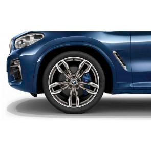 BMW Alufelge M Doppelspeiche 718 bicolor (titanium matt / glanzgedreht) 8,5J x 21 ET 30 Vorderachse X3 G01 X4 G02