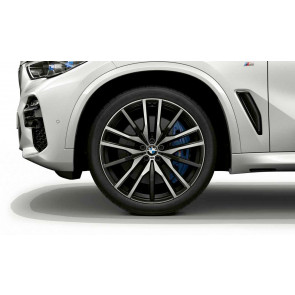BMW Alufelge M Doppelspeiche 742 bicolor (schwarz / glanzgedreht) 9,5J x 22 ET 37 Vorderachse X5 G05