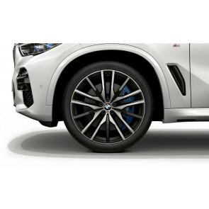 BMW Alufelge M Doppelspeiche 742 bicolor (schwarz / glanzgedreht) 10,5J x 22 ET 43 Hinterachse X5 G05