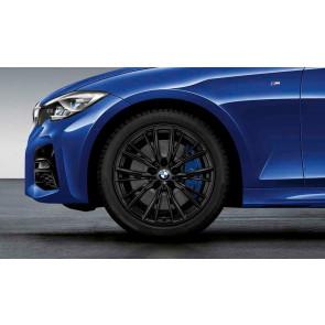 BMW Winterkompletträder M Performance Doppelspeiche 796 schwarz matt 18 Zoll 3er G20 RDCi (Mischbereifung)