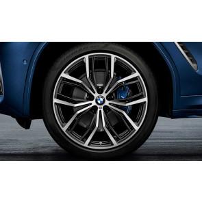 BMW Kompletträder M Performance Y-Speiche 701 bicolor (jet black matt / glanzgedreht) 21 Zoll X3 G01 X4 G02 (Mischbereifung)