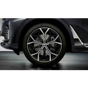 BMW Kompletträder M Performance Y-Speiche 785 bicolor (jet black matt / glanzgedreht) 22 Zoll X7 G07 RDCi (Mischbereifung)