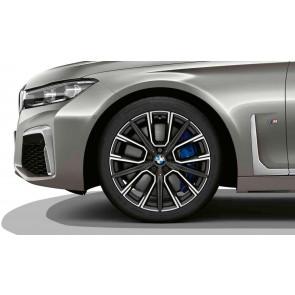 BMW Alufelge M Sternspeiche 817 bicolor (jet black uni / glanzgedreht) 10J x 20 ET 41 Hinterachse 7er G11 G12